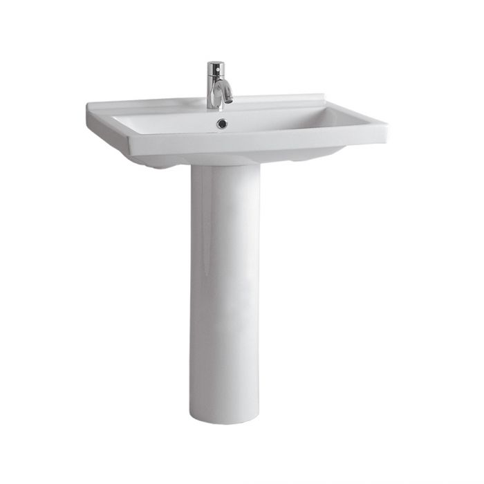 Whitehaus Tubular China Pedestal with a Rectangular Basin and Chrome Overflow Bathroom Sink LU024-LU005-1H