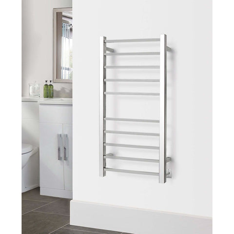 WarmlyYours Metropolitan 10 Bars Polished Stainless Hardwired Towel Warmer TW-MT-10PS-HW