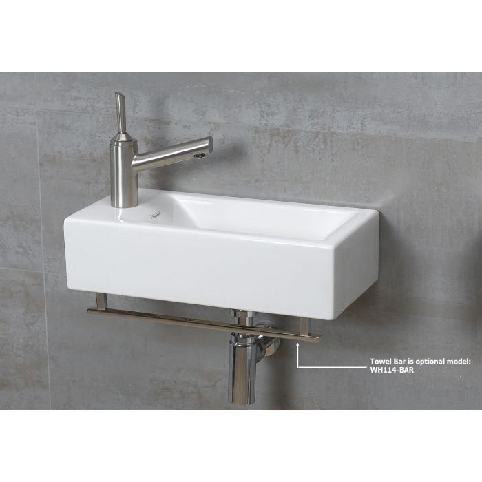 Whitehaus White Ceramic Wall Mount Rectangular Basin Bathroom Sink WH1-114L