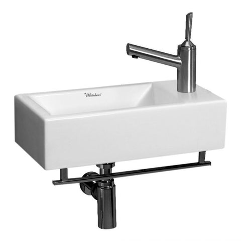Whitehaus White Ceramic Bath Wall Mount Basin Sink w/ Towel Bar Bathroom Sink WH1-114LTB