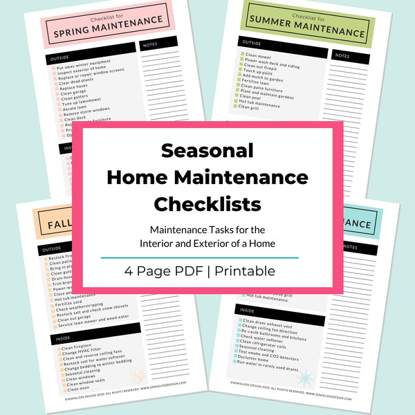 Seasonal Maintenance Checklists