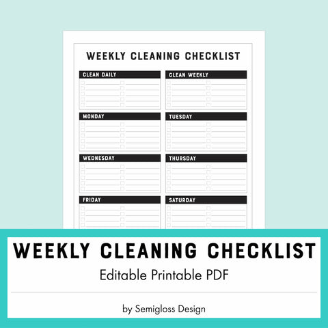 Weekly Cleaning Checklist - Editable PDF