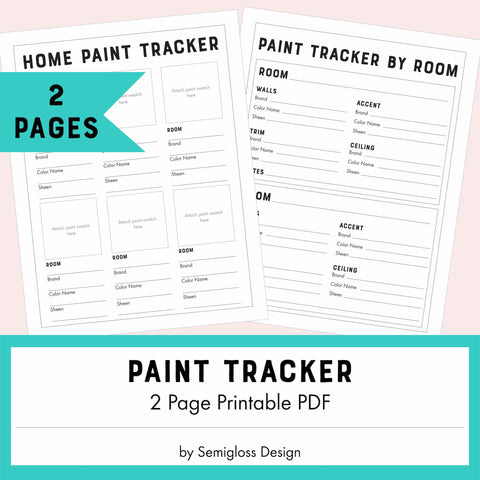 Home Paint Color Tracker Printable