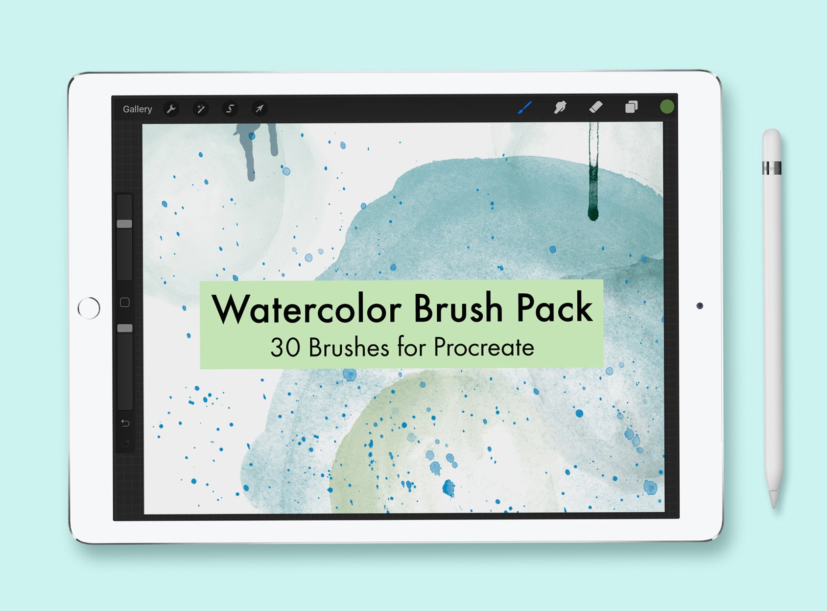 iPad mockup with text overlay: watercolor brush pack for procreate.