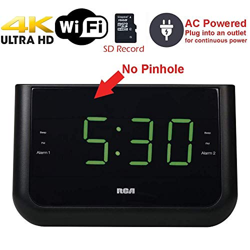 4K Ultra HD Alarm Clock Radio WiFi Hidden Security Nanny Cam