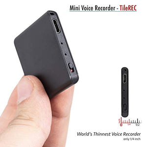 TileRec - Slimmest Voice Activated Recorder with 145 Hours Recording Capacity, MP3 Records, 24 Hours Battery Time, Metal Case – by Atto Digital