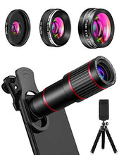 Load image into Gallery viewer, Phone Camera Lens Phone Lens Kit 9 in 1, 20X Telephoto Lens, 205° Fisheye Lens, 0.5X Wide Angle Lens & 25X Macro Lens