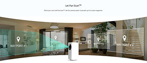 Pan/Tilt/Zoom Wi-Fi Indoor Smart Home Camera with Night Vision, 2-Way Audio, Works with Alexa & the Google Assistant