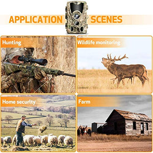 0.3s Trigger Speed with Night Vision Motion Activated Waterproof Wildlife Hunting Cam 120° Detection