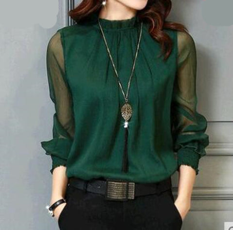 Chiffon Blouse New Women Tops Long Sleeve Shirts For Elegant Lady