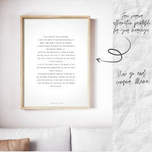 framed print of free printable marriage warrior affirmations