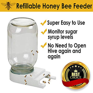 Mama Bee's Homestead Supply Bee Feeders -Easy-to-Install Beekeeping Beehive Equipment - Perforated Lid Fits Mason and Plastic Jars - Water and Sugar Syrup Entrance or Top Dispenser - Beekeeper Tools
