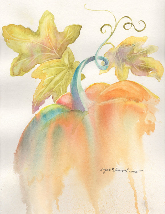 Watercolor painting of an orange pumpkin with splashes of blue and green. Three leaves and a curly vine.