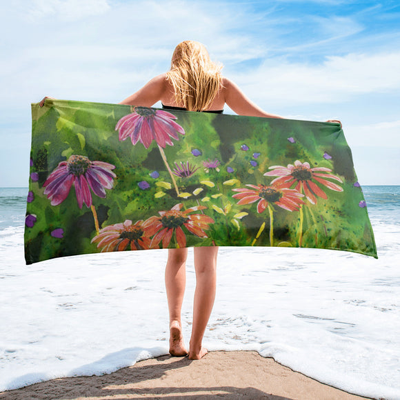 SALE Coneflower Garden Towel