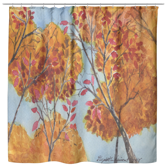 Orange Trees Shower Curtain