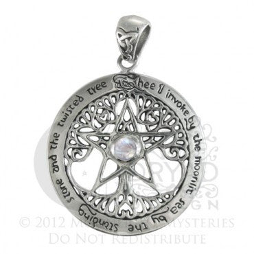 SS Extra Large Cut Our Tree Pentacle Power Pendant with Rainbow Moonstone