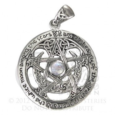 SS Extra Large Cut Out Moon Pentacle with Rainbow Moonstone
