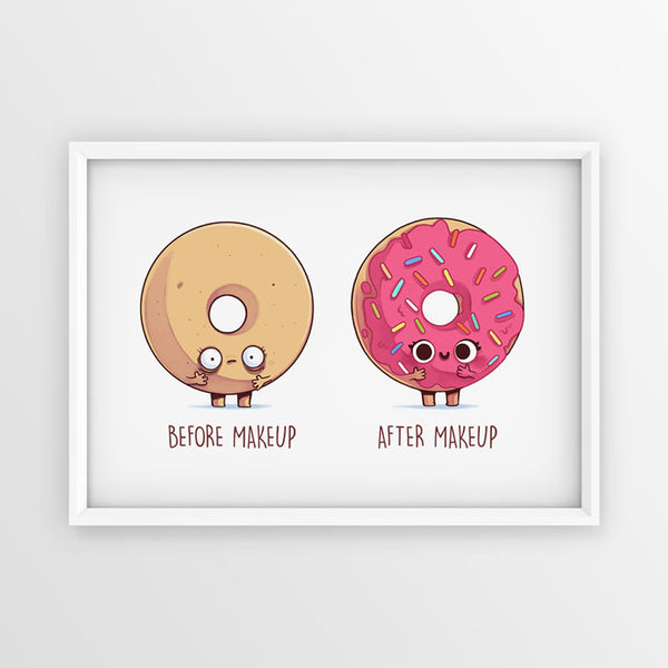 Before after makeup donut - Poster - Naolito
