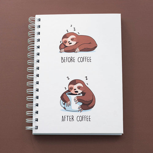 Before After Coffee Sloth - Notebook