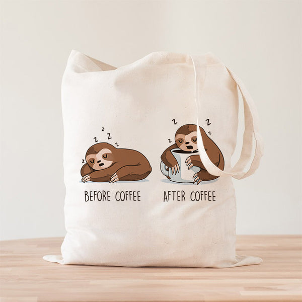 Before After Coffee Sloth Premium - Tote bag - Naolito