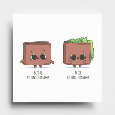Before and After visiting Grandma (wallet) - Art Print