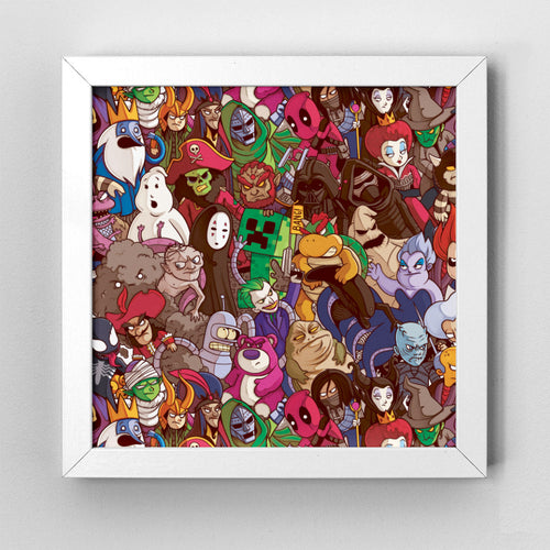 Villains Pattern Art Print - Naolito
