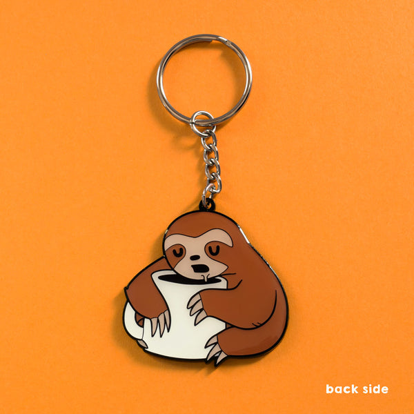 Coffee Sloth - Double-Sided Enamel Keychain