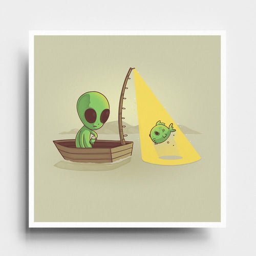 Alien Fishing - Art Print - Naolito