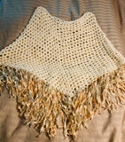 Handmade crochet  Poncho with Long Fringes