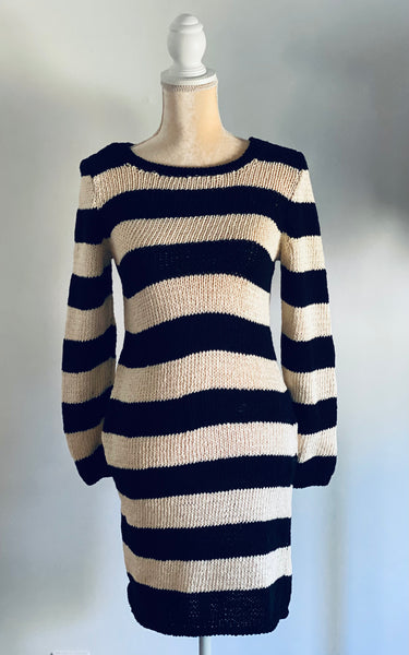 Striped Sweater Dress Black and White