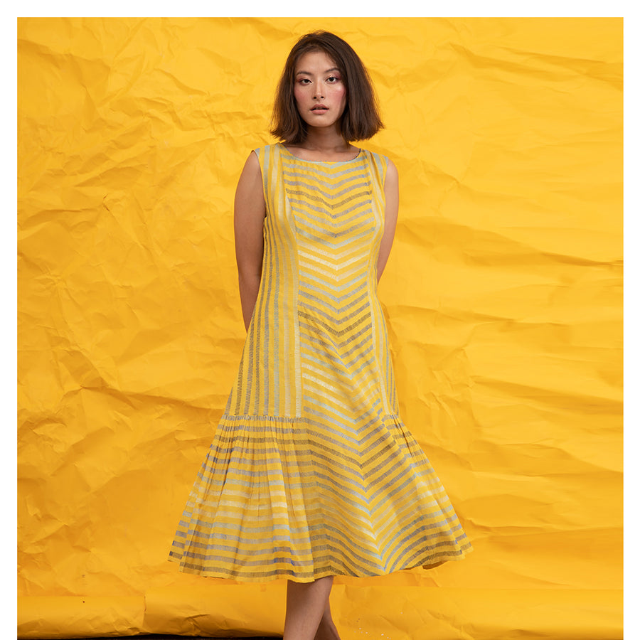Women Striped Embroidery Yellow Easy Dress