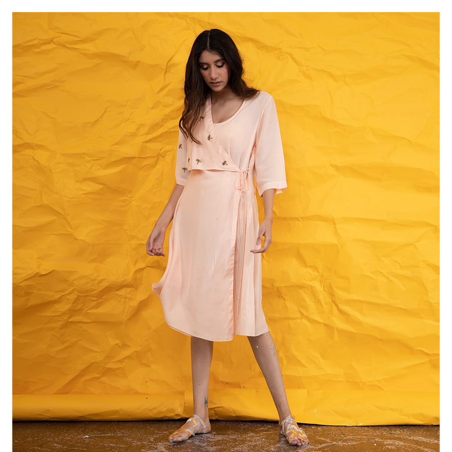 Women Statement Dragonfly Embroidery Peach Flap Dress