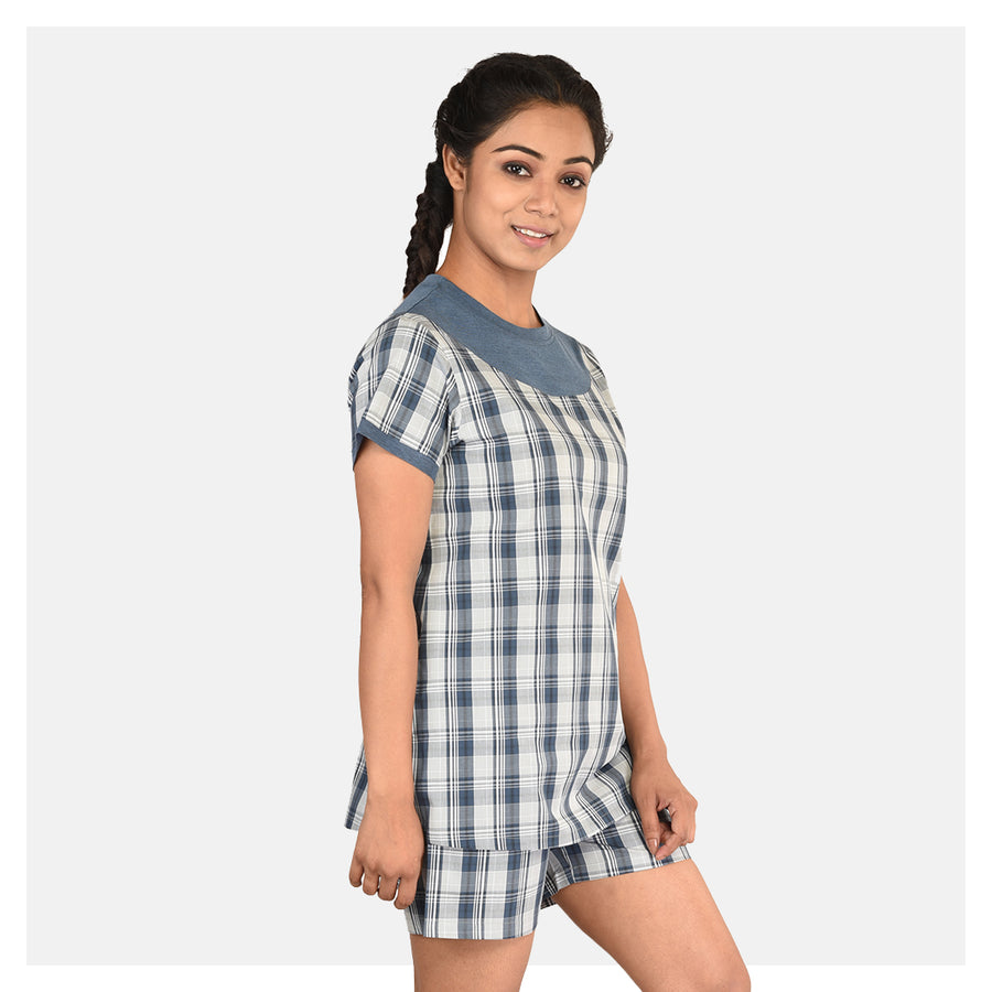 Women Checkered Print Top and Short Cotton Night Suit