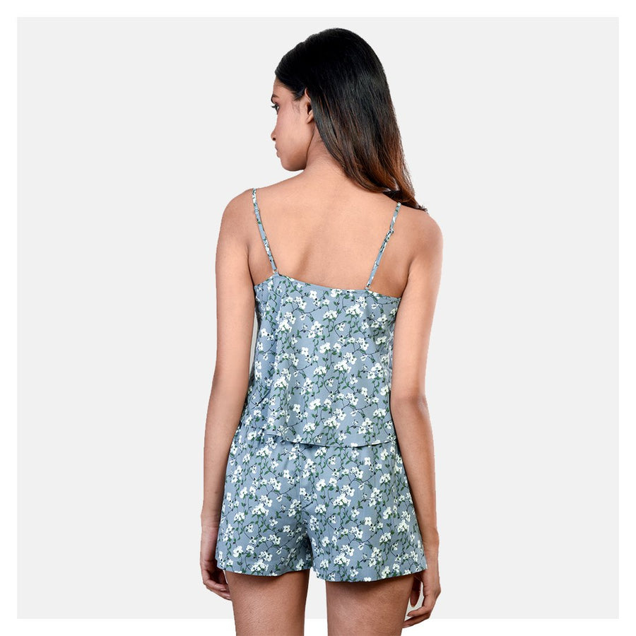 Women Grey and White Cotton Lycra Spaghetti Top and Short Sleepwear Set - Suman Nathwani