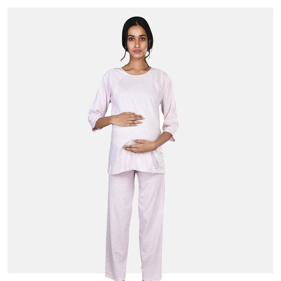 Women Pink Double Front Zip Comfortable Embroidered Cotton Maternity Night Suit