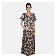 Women Brown Flap Style Floral Printed Cotton Feeding Nighty - Suman Nathwani