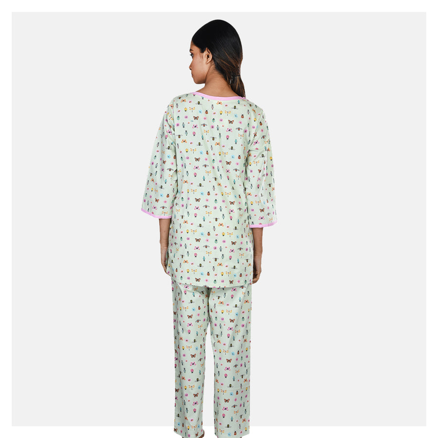 Women Mint Green Double Front Zip Cotton Maternity Night Suit