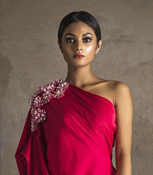 Women Red Off-Shoulder Gown With 3D Embroidered Flowers - Suman Nathwani