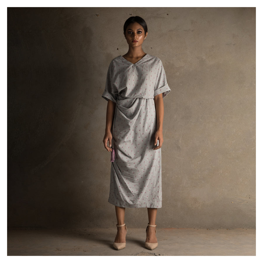 Women Grey Handloom Draped Cotton Dress With Waist Tie-Up