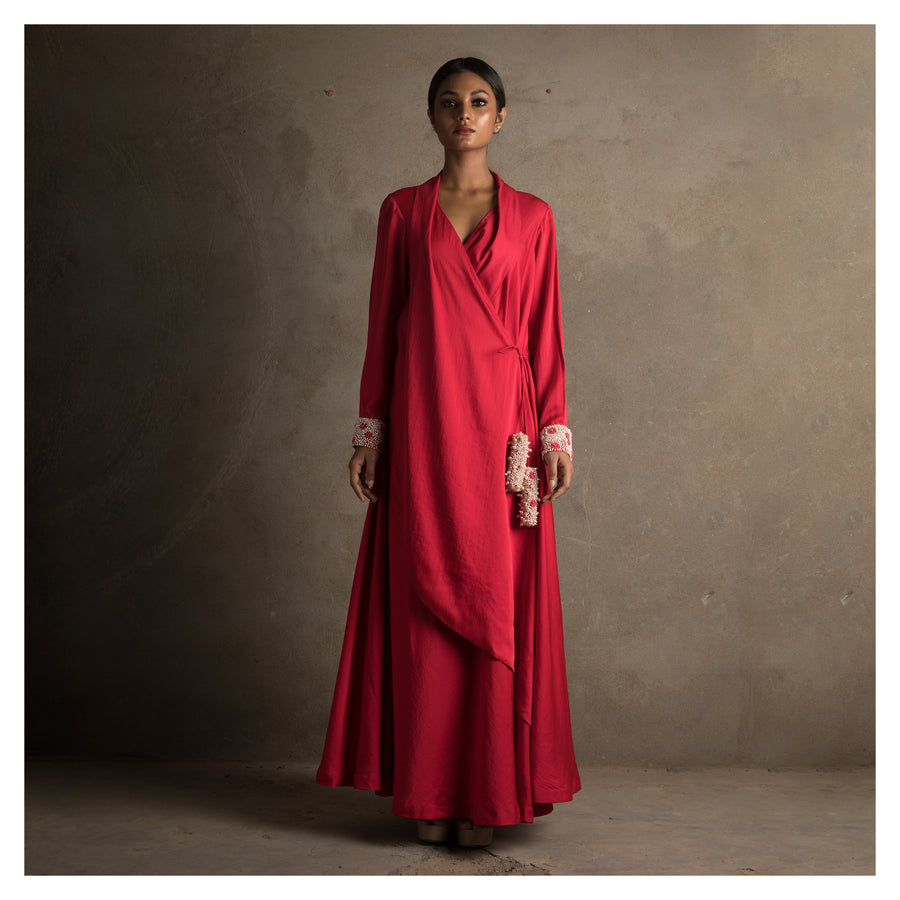 Women Red Shawl Collar Wrap Anarkali