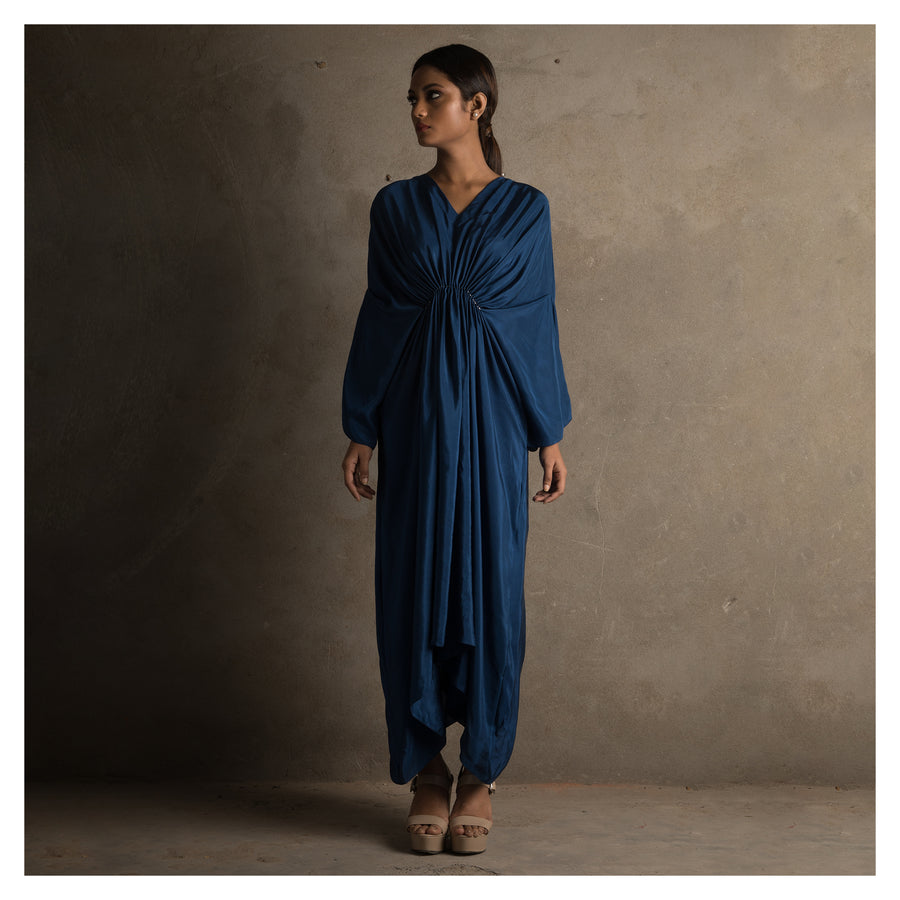 Women Navy Blue Kaftna Style Dress Clenched At The Waist With Pleats And Katdanna