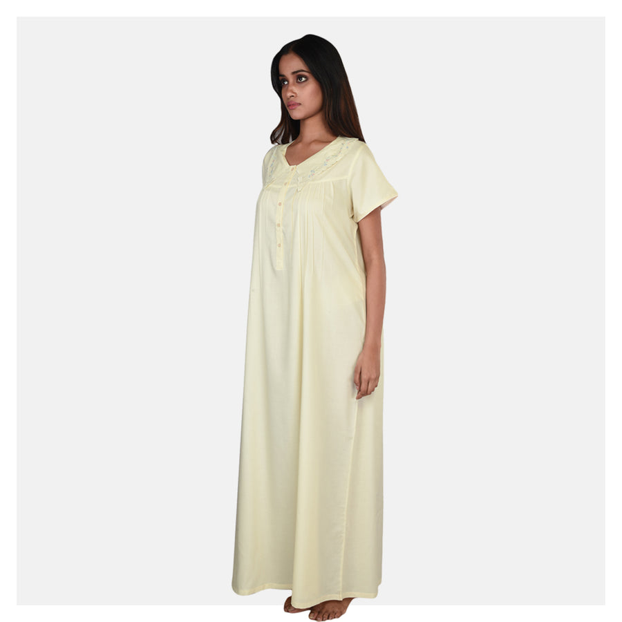 Women Pastel Yellow Machine Embroidery  Summer Cotton Nighty From Classic Collection