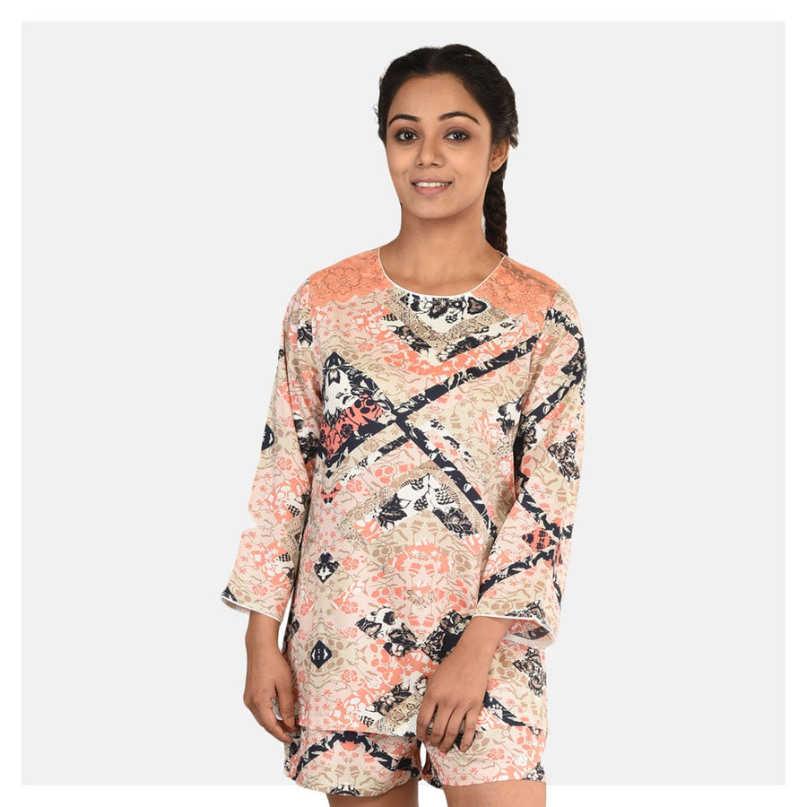Women Abstract Print Top and Short Cotton Rayon Night Suit - Suman Nathwani