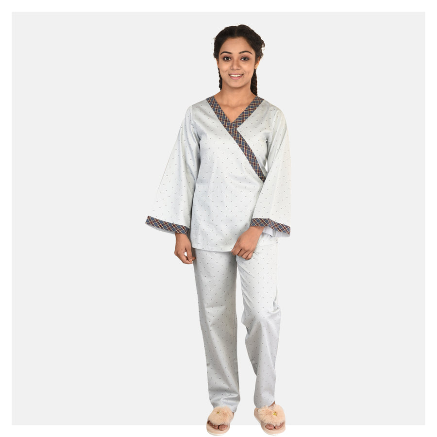 Women Grey Blue Japanese Cotton Nightsuit