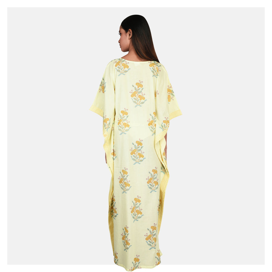 Women Lemon Yellow Soft Cotton Kaftan