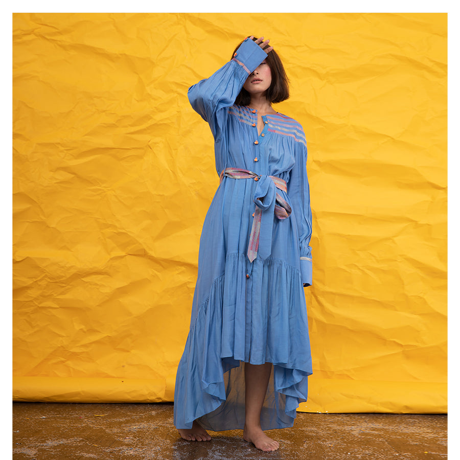 Women Striped Embroidered Blue Tiered Dress