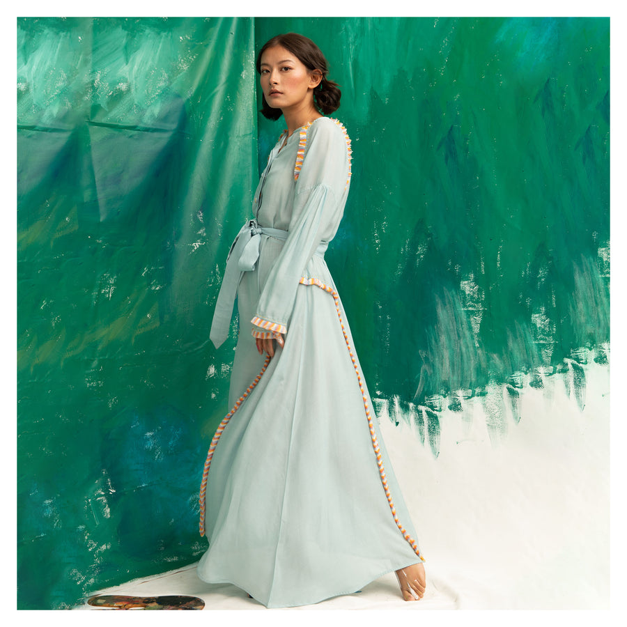 Women Sea Green Kimono Sleeves Mid length Dress