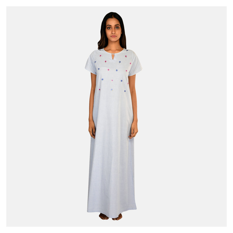 Women Light Blue Scattered Embroidery Pure Cotton Nighty