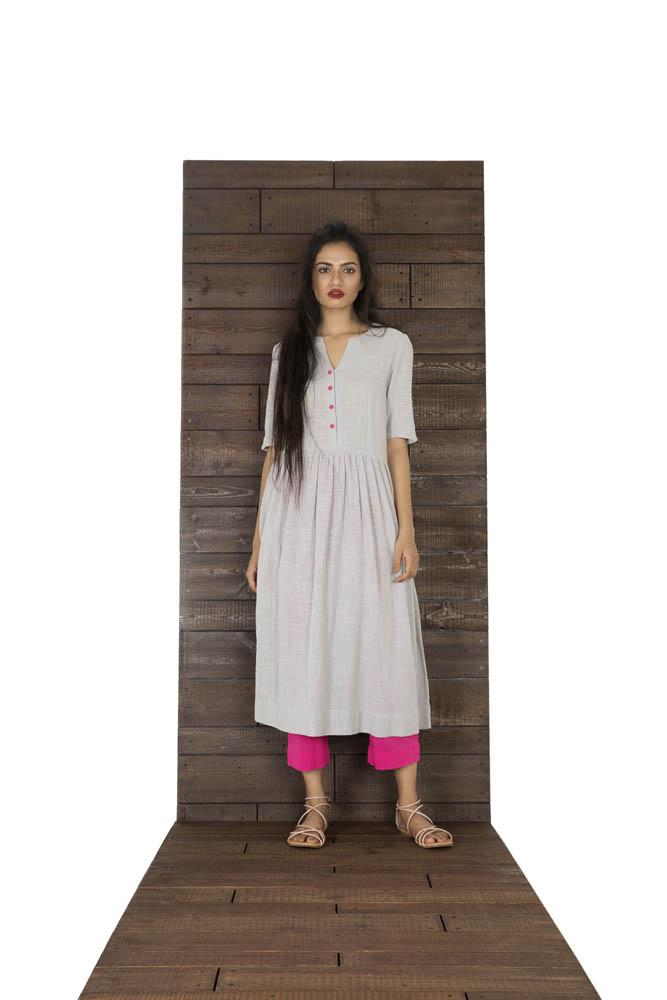 Women Grey And Pink Matka Cotton Dress Paired with Pants