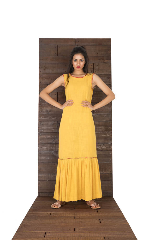 Women Yellow Mustard Gatered At The Bottom Matka Cotton Dress